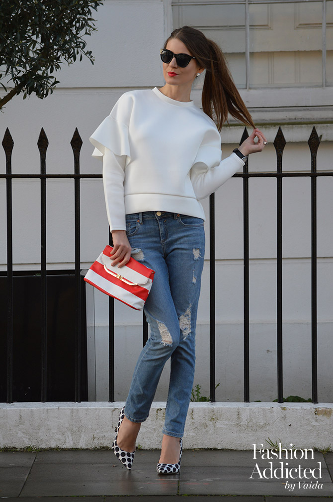 Ruffle-Sleeve-Sweater-ripped-jeans-outfit-aldo-polka-dot-shoes-fashion-blogger-london
