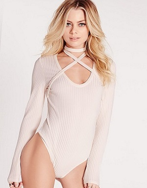 harness neck ribbed choker bodysuit nude