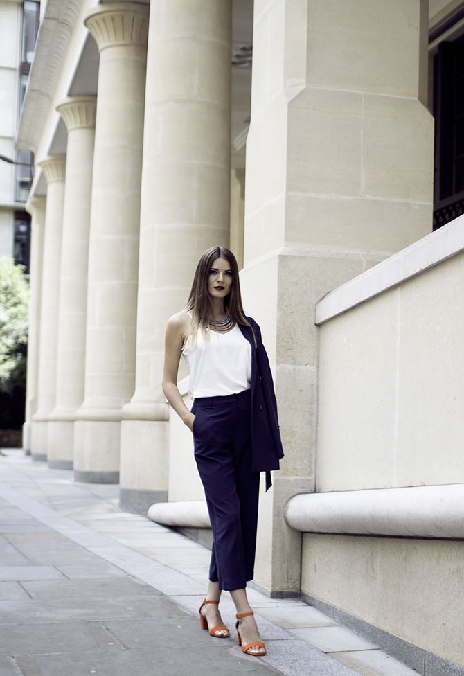 navy-suit-culottes-orange-sandals-fashion-blogger-london-3