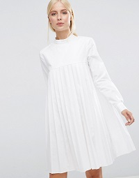 ASOS-Long-Sleeve-Cotton-Pleated-Dress
