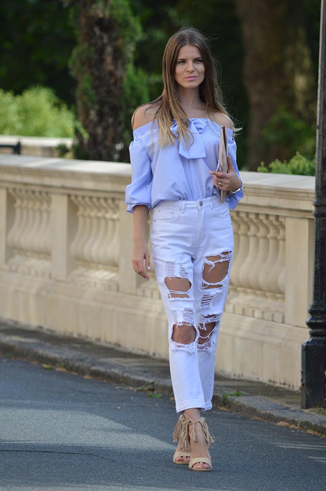 lasula-mom-ripped-jeans-off-shoulder-top-striped-blue-tassel-heels-3