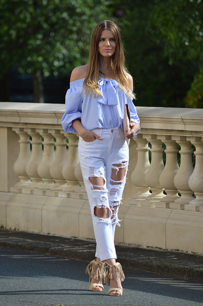 LASULA Mom Ripped Jeans - Fashion Addicted Cream Heels With Bow
