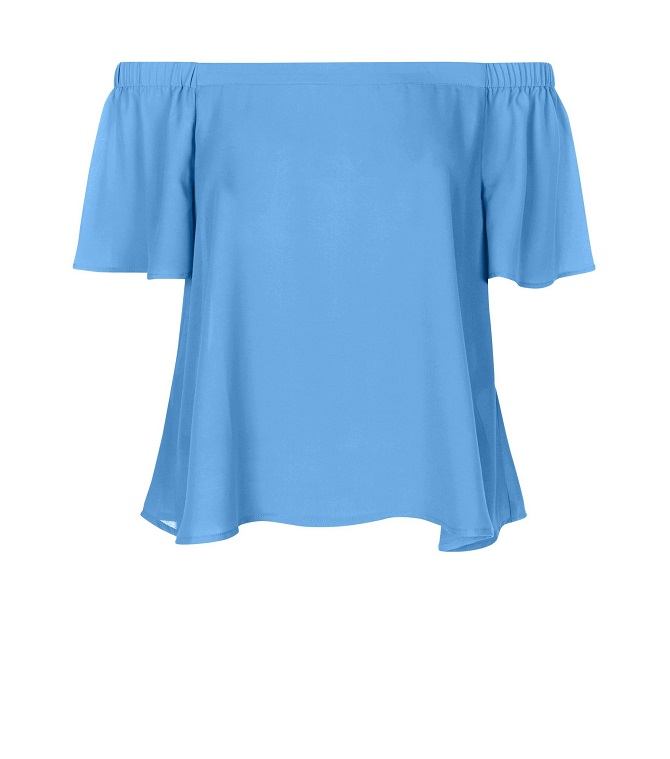 new-look-Blue-Bardot-Neck-Frill-Sleeve-Top