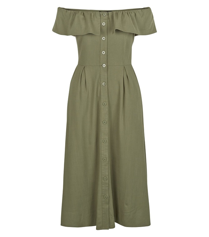 new-look-Khaki-Button-Front-Frill-Bardot-Neck-Midi-Dress