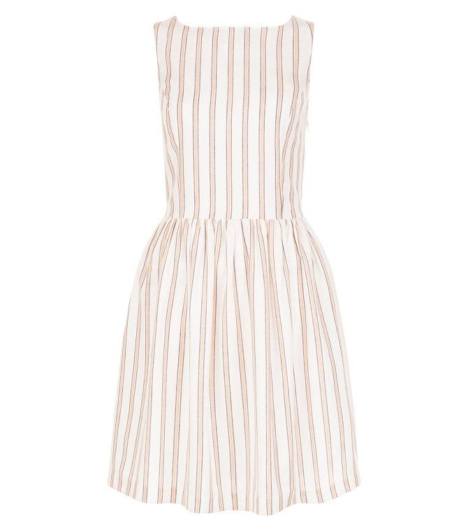 new-look-White-Stripe-Button-Back-Skater-Dress