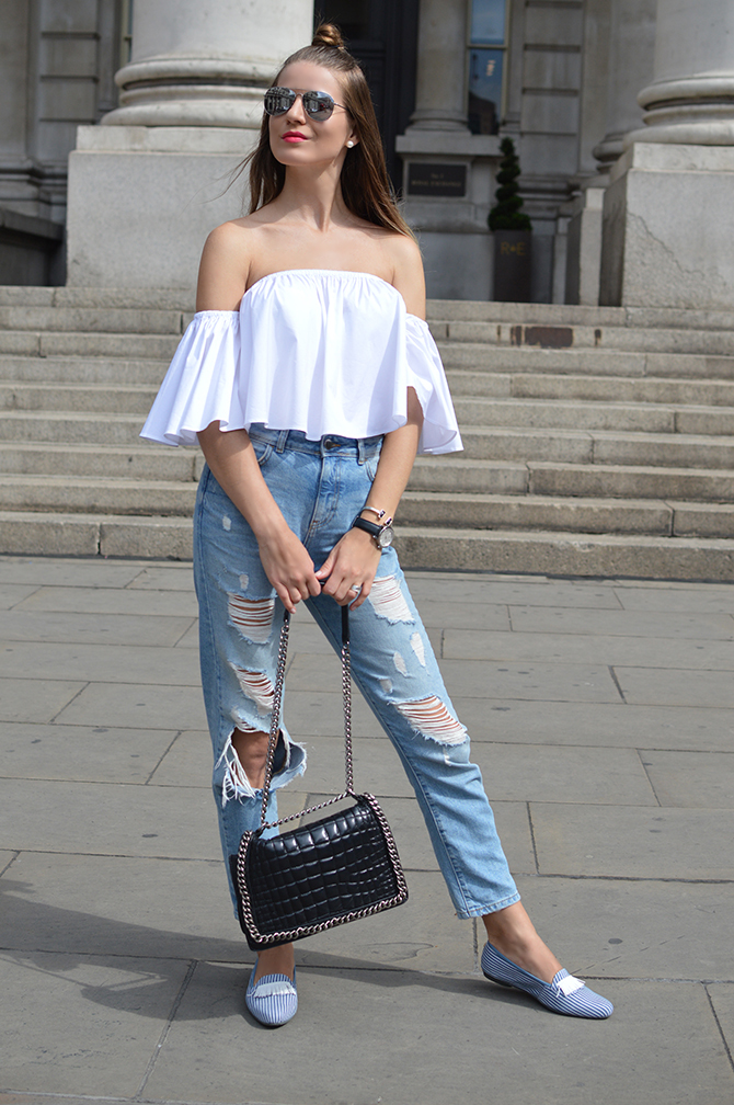 morena-morena-shoes-loafers-off-shoulder-top-mom-ripped-jeans