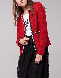 stradivarius-boucle-jacket-red