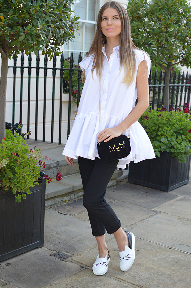karl-lagerfeld-cat-slip-ons-shoes-asos-white-oversized-shirt-cat-bag