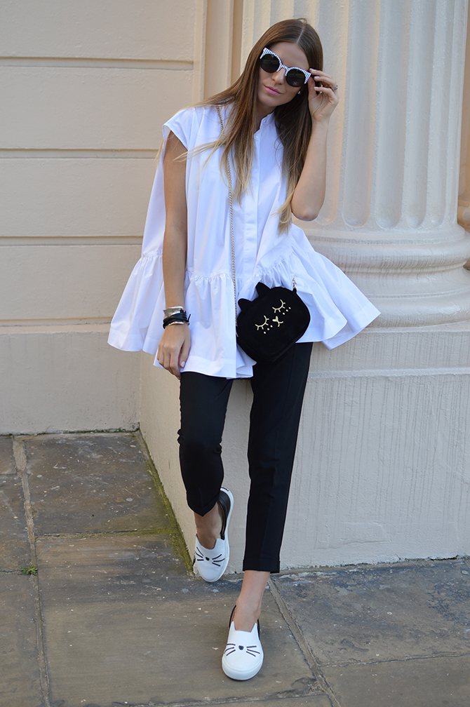 karl-lagerfeld-cat-slip-ons-shoes-unode50-ibiza-bracelet-asos-white-oversized-shirt-vans-polka-dot-sunglasses-fashion-blogger-london