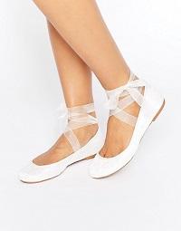 ASOS LYDIA Bridal Ribbon Ballet Flats