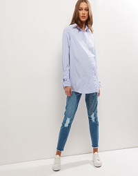 New Look Maternity Blue Ripped Over Bump Jeans