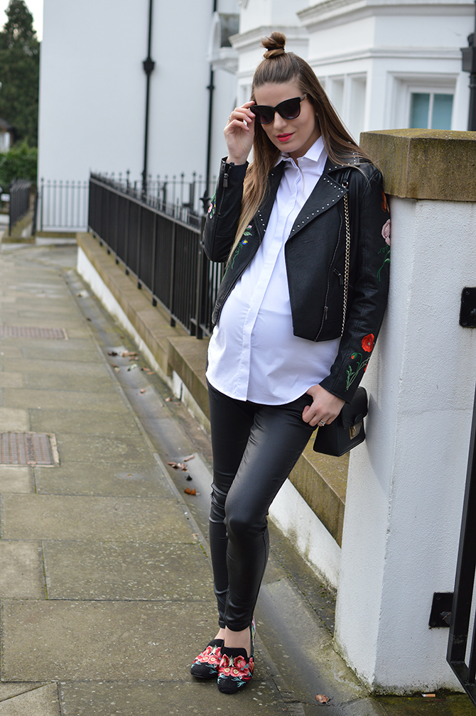 Embroidered-Leather-Jacket-maternity-outfit-2