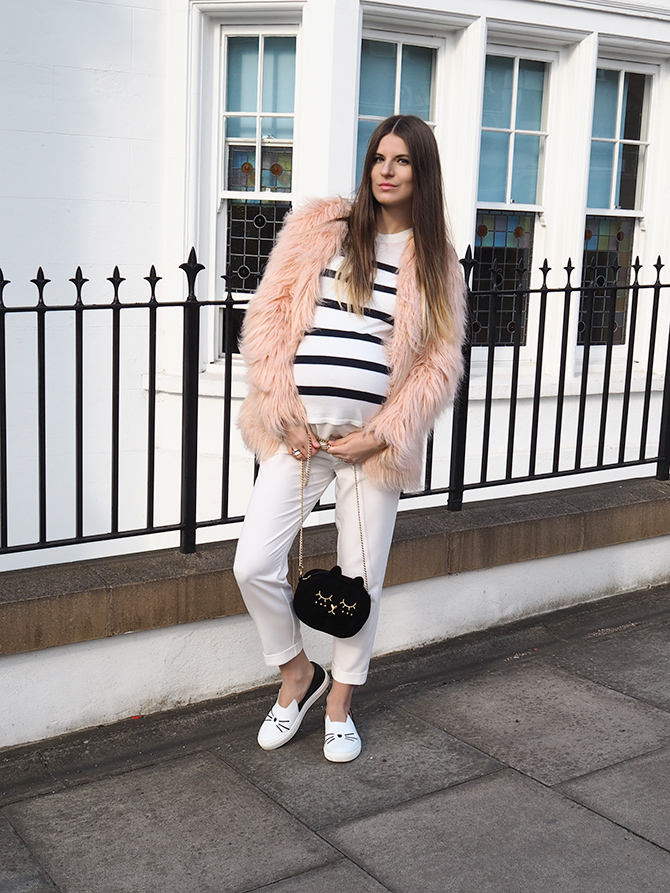 white-maternity-trousers-karl-lagerfeld-cat-shoes