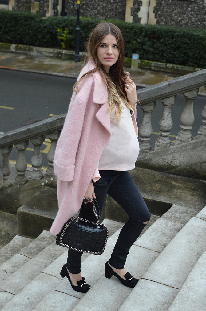 pink-coat-zara-quilted-bag-fringe-loafers
