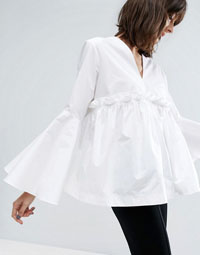 ASOS WHITE Ruffle Yoke Bell Sleeve Top