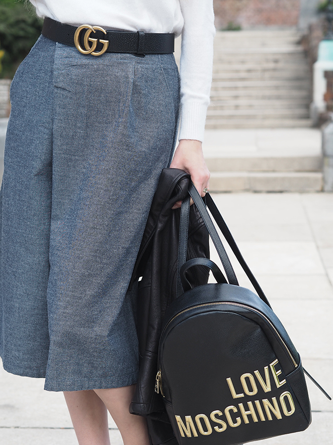 how-to-style-culottes-gucci-marmont-belt-love-moschino-backpack