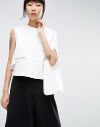 ASOS WHITE Crepe One Shoulder Top With Fold Detail
