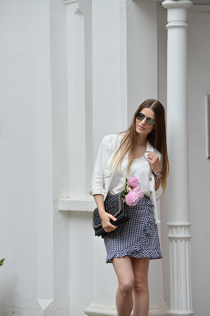 gingham-skirt-peonies-white-denim-jacket-fashion-blogger-london-2