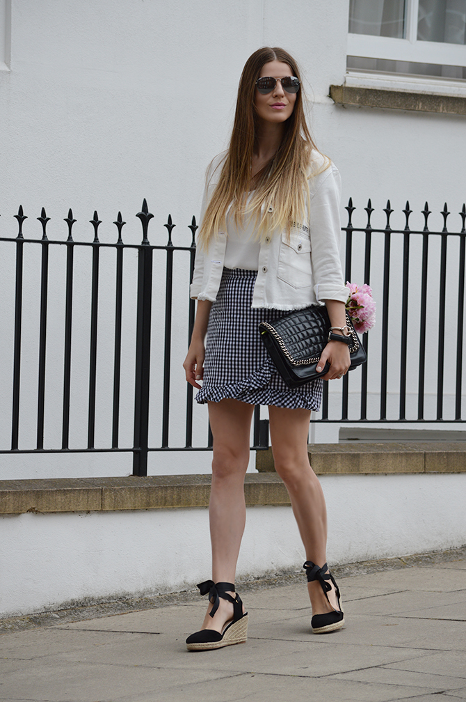 gingham-skirt-peonies-white-denim-jacket-fashion-blogger-london-5