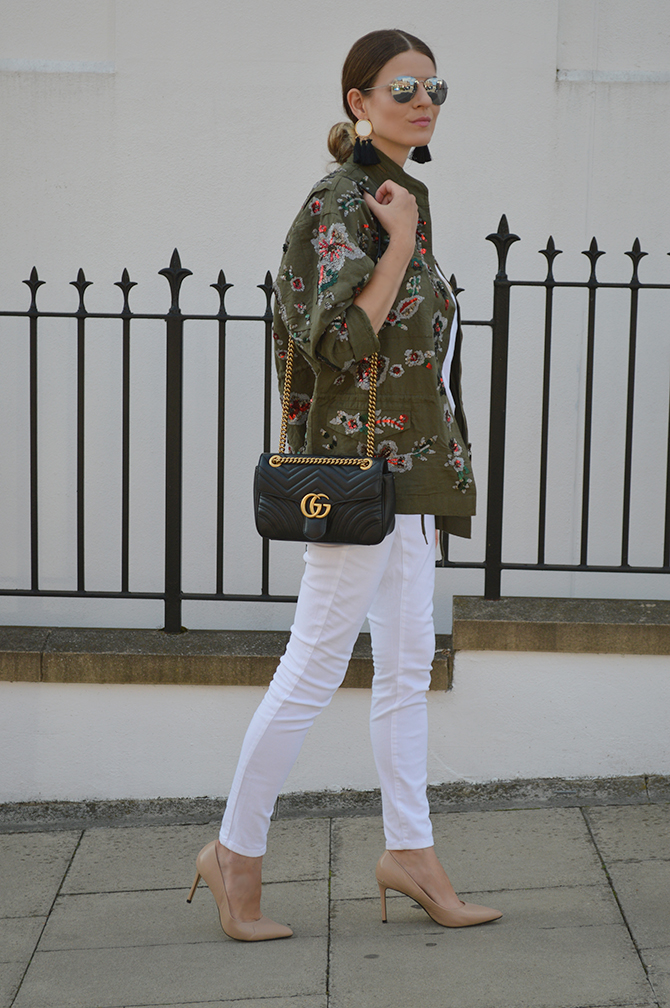 zara-sale-khaki-embellished-jacket-gucci-marmont-bag-2