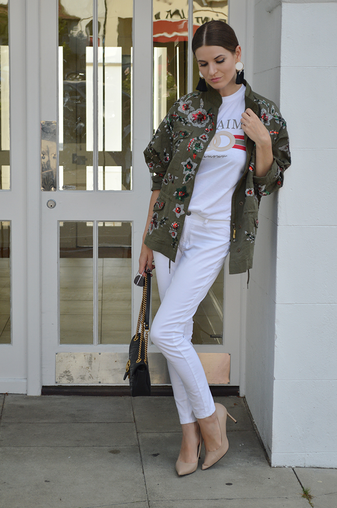 zara-sale-khaki-embellished-jacket-gucci-marmont-bag-fashion-blogger-london-2