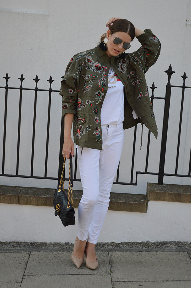 zara-sale-khaki-embellished-jacket-gucci-marmont-bag-fashion-blogger-london