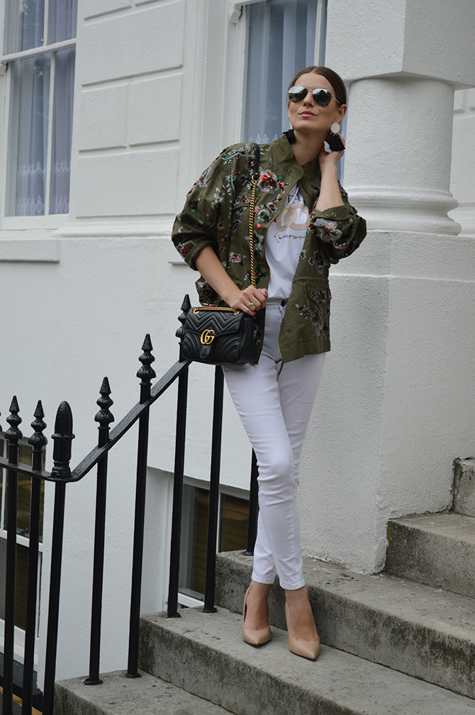 zara-sale-khaki-embellished-jacket-gucci-marmont-bag