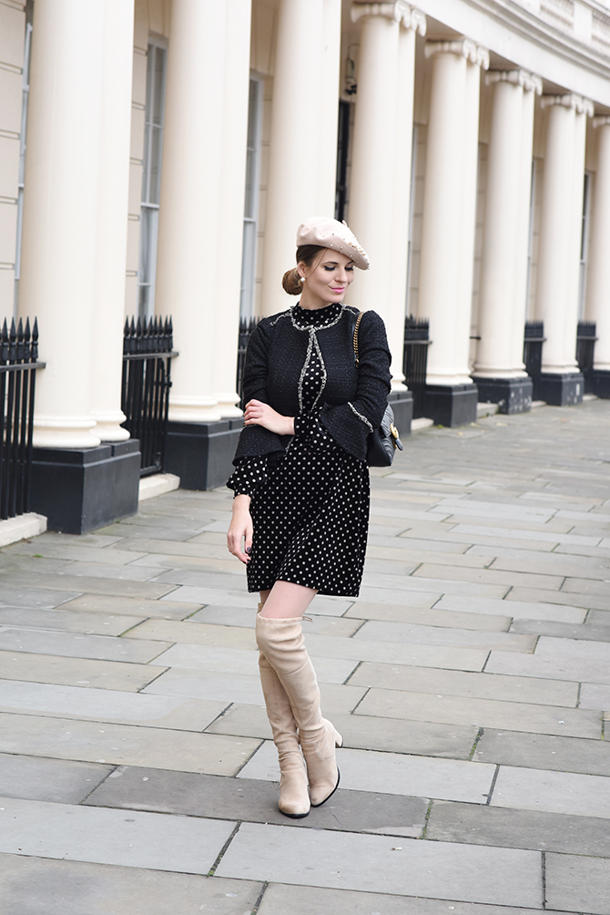 How-To-Wear-Dress-in-Winter-parisian-look-beret-hat-polka-dot-dress-2