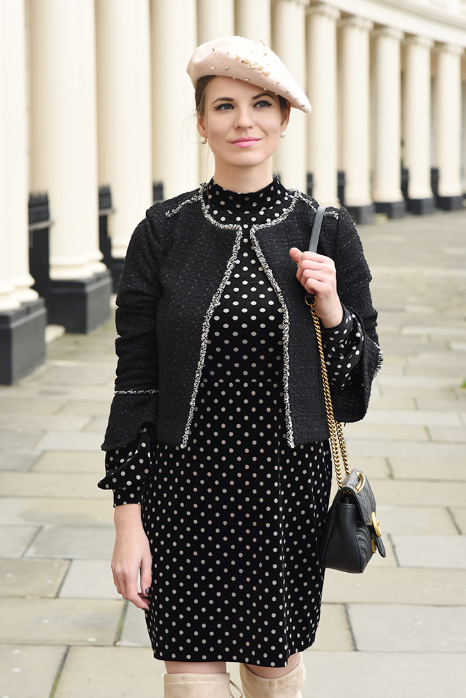 How-To-Wear-Dress-in-Winter-parisian-look-beret-hat-polka-dot-dress