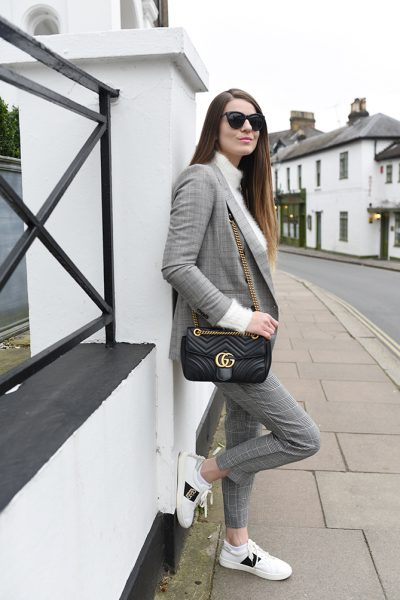 checked-suit-woman-gucci-marmont-bag-dune-bee-trainers