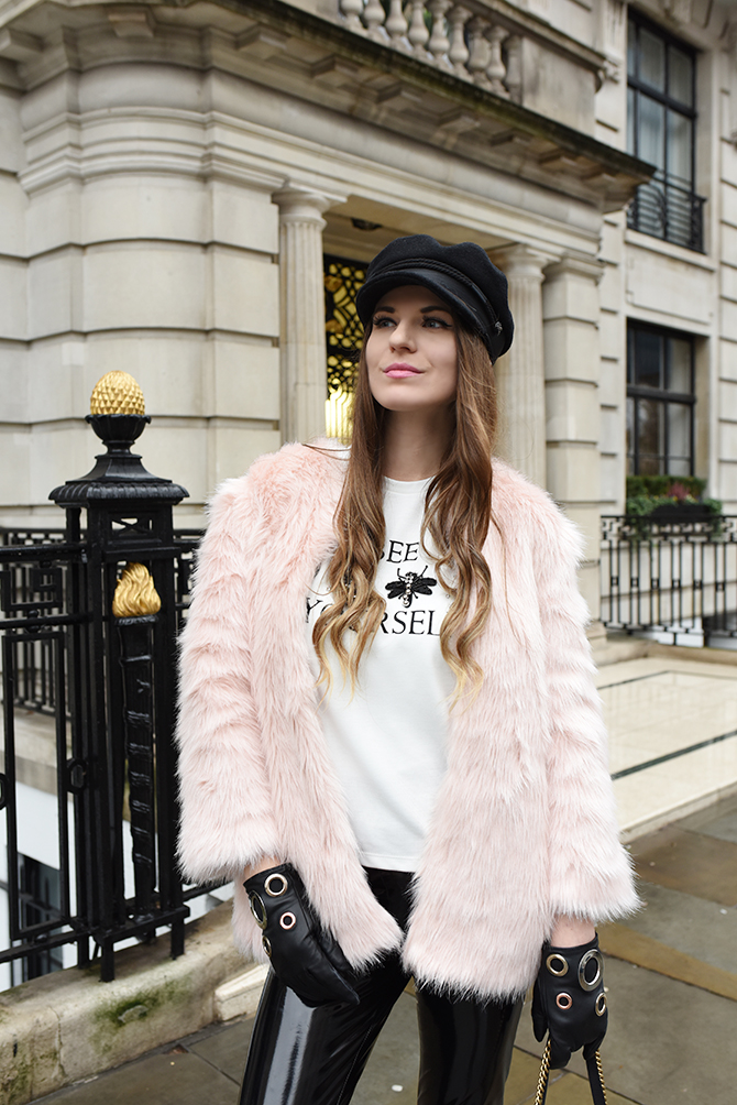 how-to-be-rock-chic-vinyl-trousers-baker-boy-hat-1