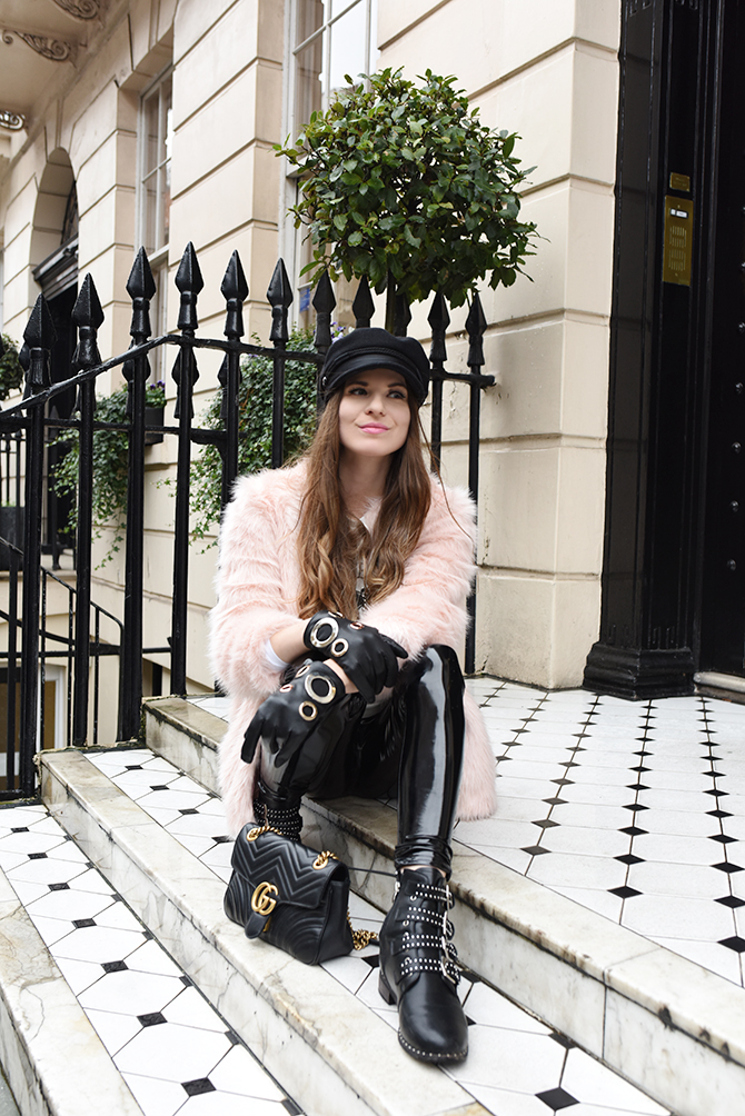how-to-be-rock-chic-vinyl-trousers-baker-boy-hat-gucci-marmont-bag-fashion-blogger-london-2