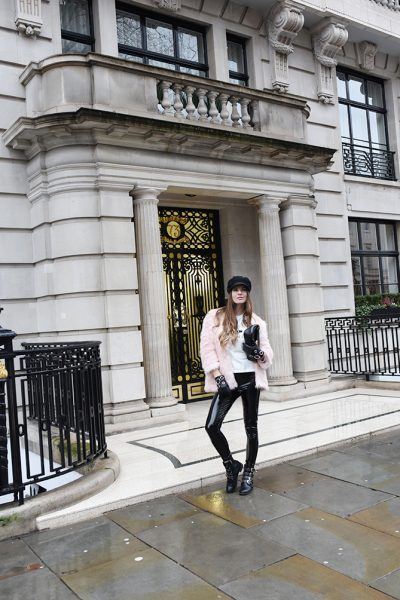 how-to-be-rock-chic-vinyl-trousers-baker-boy-hat-gucci-marmont-bag-fashion-blogger-london-5