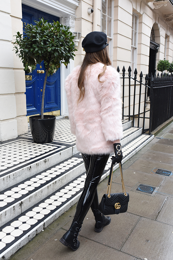 how-to-be-rock-chic-vinyl-trousers-baker-boy-hat-gucci-marmont-bag-fashion-blogger-london