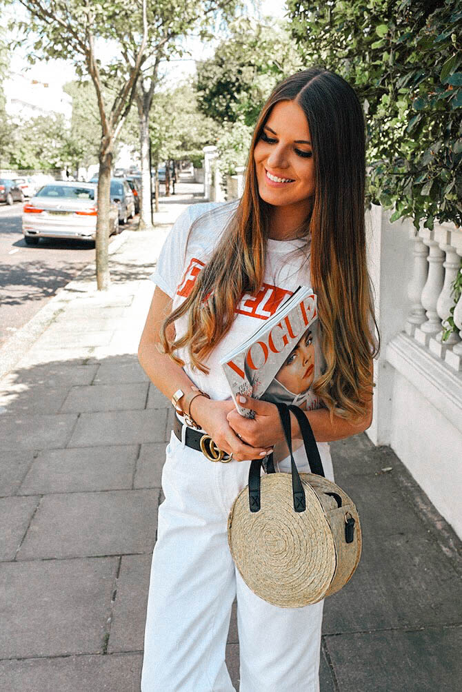 emelle-tshirt-amazon-fashion-straw-handbag-gucci-belt