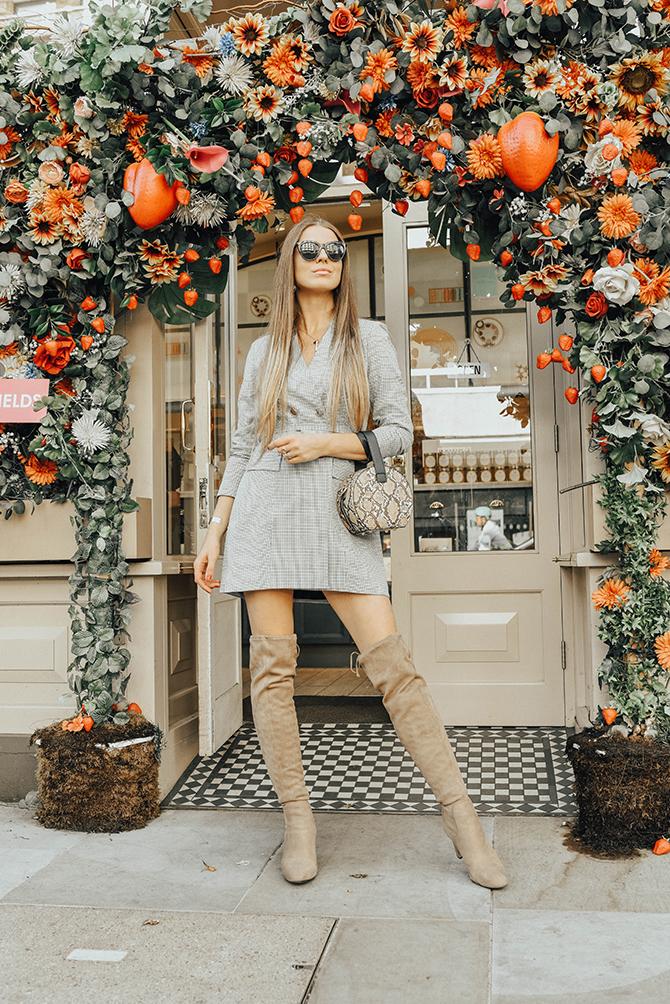 check-blazer-dress-snake-handbag-fashion-blogger-london-dominique-ansel