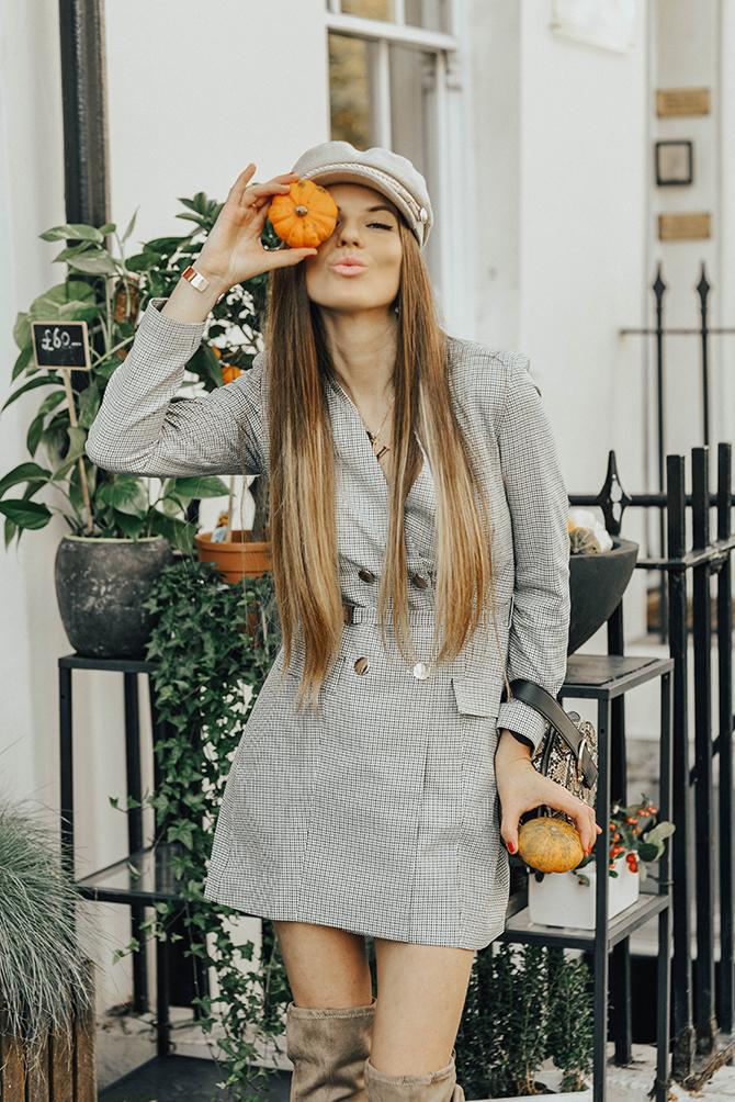 check-blazer-dress-snake-handbag-fashion-blogger-london
