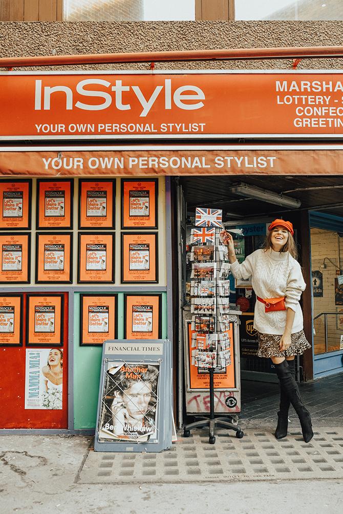 cable-knit-jumper-10store-fashion-blogger-london-leopard-skirt-red-belt-bag-captain-hat-4