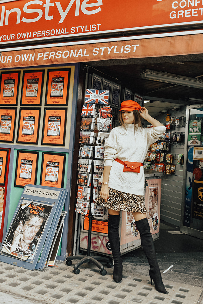 cable-knit-jumper-10store-fashion-blogger-london-leopard-skirt-red-belt-bag-captain-hat-5