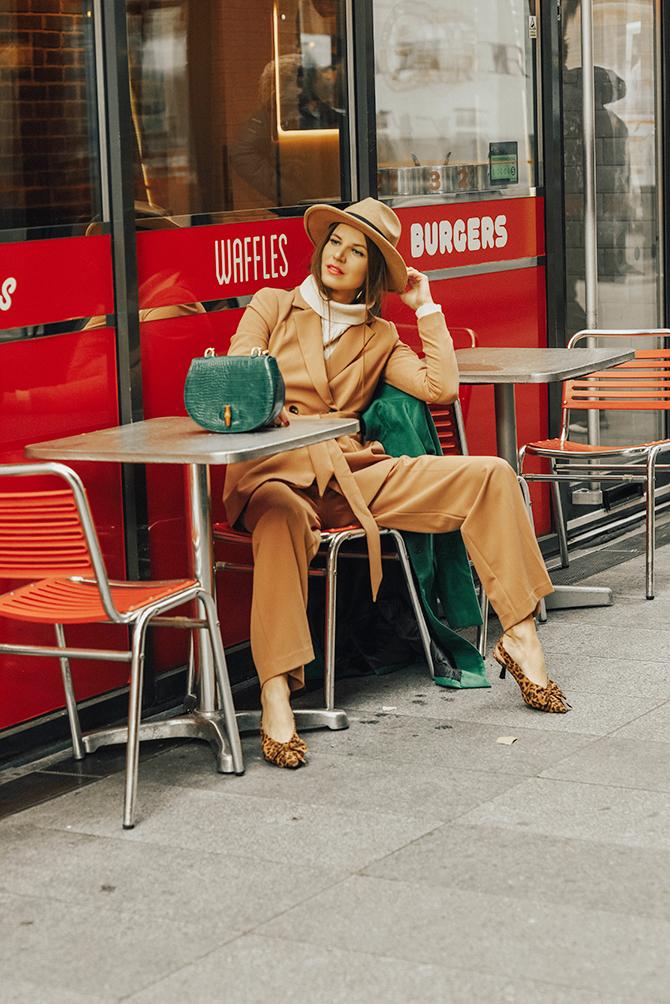 tan-suit-debenhams-fashion-blogger-london-green-coat-leopard-shoes