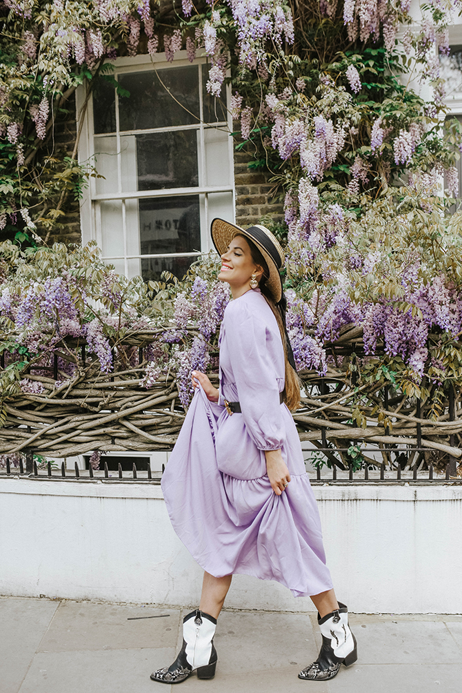 most-instagrammable-wisteria-london-fashion-blogger-lilac-dress-cowboy-boots-1