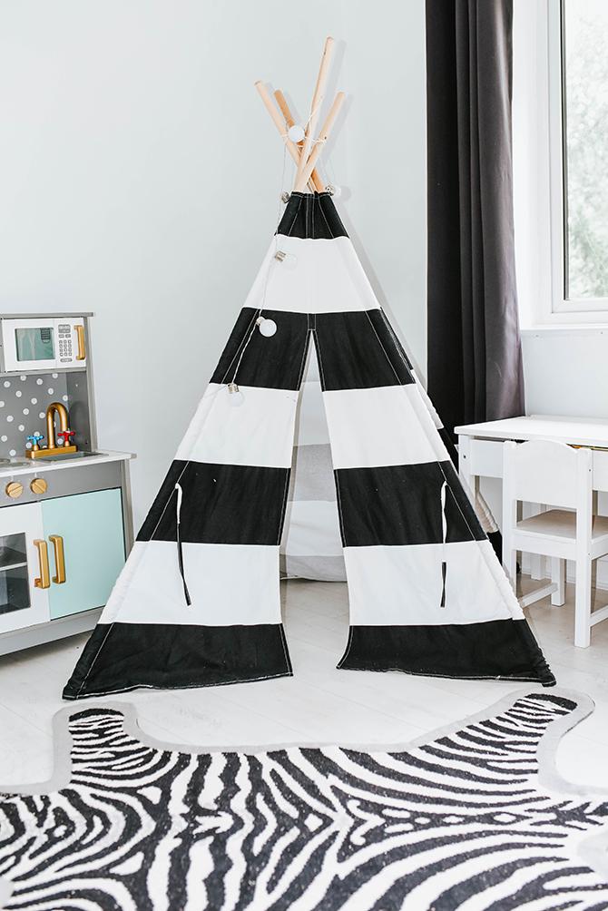 kids-bedroom-nursery-ideas-teepee-tent-kids-kitchen-amara-living-zebra-rug