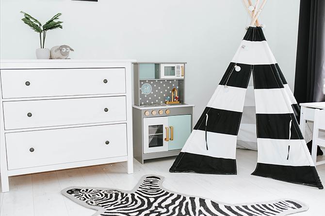 kids-bedroom-nursery-ideas-teepee-tent-kids-kitchen-ikea-hemnes-drawers-amara-living-zebra-rug-2