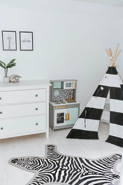 kids-bedroom-nursery-ideas-teepee-tent-kids-kitchen-ikea-hemnes-drawers-amara-living-zebra-rug